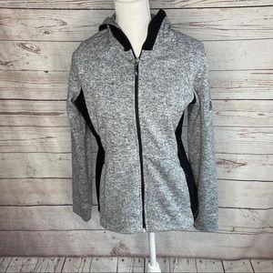Zeroxposur Gray Black Hooded Fleece Zip Jacket  M